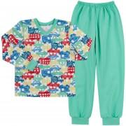 Пижама теплая для мальчика ПЖ41 Машинки зеленые  (байка)  Бемби