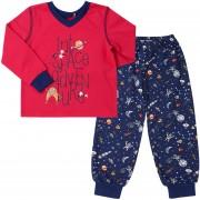 Пижама теплая для мальчика ПЖ41Космос красная (байка)  Бемби