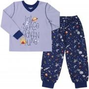 Пижама теплая для мальчика ПЖ41Космос серая (байка)  Бемби