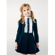 Блуза темно синяя на кнопках с рюшами  Смил 2018