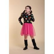 Платье вязаное с фатиновой юбкой Black_Abstract тм Tophat