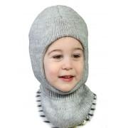 Зимняя шапка-шлем детская Квин серый  ТМ Бабасик