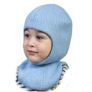Зимняя шапка-шлем детская Квин голубой  ТМ Бабасик
