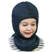 Зимняя шапка-шлем детская Квин джинс  ТМ Бабасик