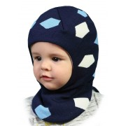 Зимняя шапка-шлем детская Мич джинс  ТМ Бабасик