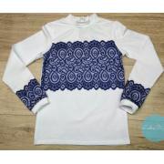 Блуза-гольф с синим гипюром  тм Ledis 2018