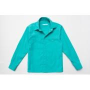 Рубашка мятная для мальчика с длинным рукавом на кнопках SmileTime