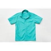 Рубашка мятная для мальчика с коротким рукавом на кнопках SmileTime