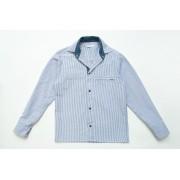 Рубашка полоcа индиго для мальчика с длинным рукавом на кнопках SmileTime