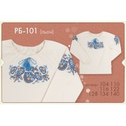 Вышиванка для девочки РБ101 (лен-вышивка) Бемби