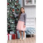 Платье вязаное с фатиновой юбкой Сердечки (розовое) тм Tophat
