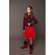 Платье вязаное с фатиновой юбкой Сердечки (красное) тм Tophat