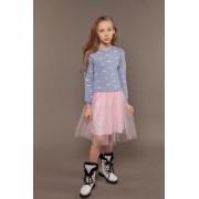 Платье вязаное с фатиновой юбкой Вишеньки тм Tophat