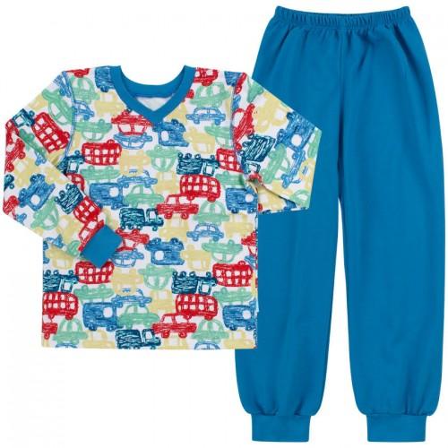 Пижама теплая для мальчика ПЖ41 Машинки синие  (байка)  Бемби