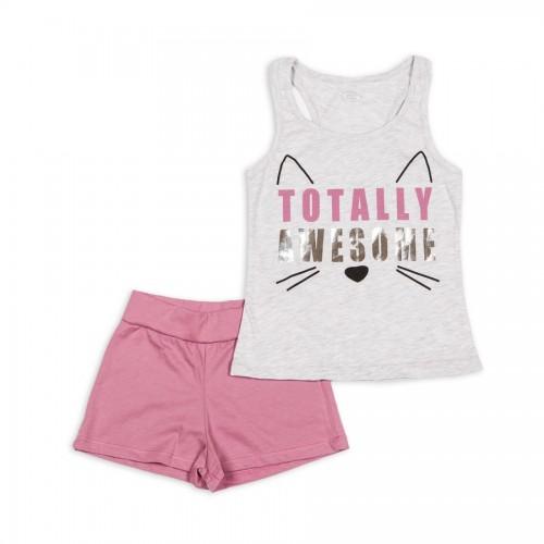 Пижама  для девочки летняя 242-114 Фламинго-текстиль