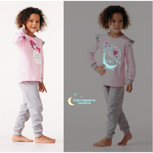 Пижама для девочки Сказочные сны Розовая  (светится в темноте)  Смил