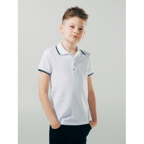 Футболка-поло БЕЛАЯ для мальчика  ТМ Смил