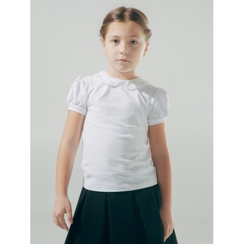 Блуза с вязаным воротничком (короткий рукав)  Смил 2018