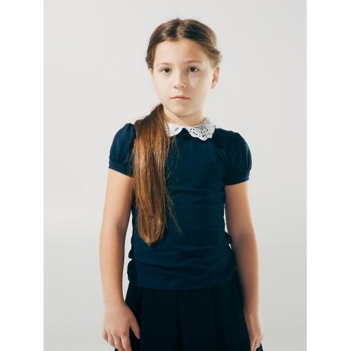 Блуза темно синяя с вязаным воротничком (короткий рукав)  Смил 2018