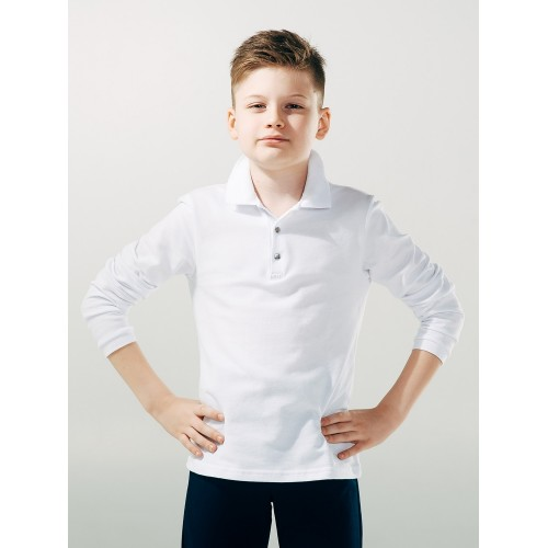 Джемпер-поло чисто БЕЛЫЙ для мальчика  ТМ Смил