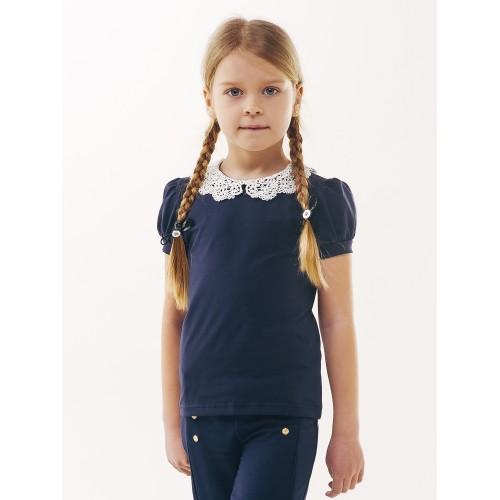 Блуза футболка с вязаным воротничком темно синяя  Смил 2019