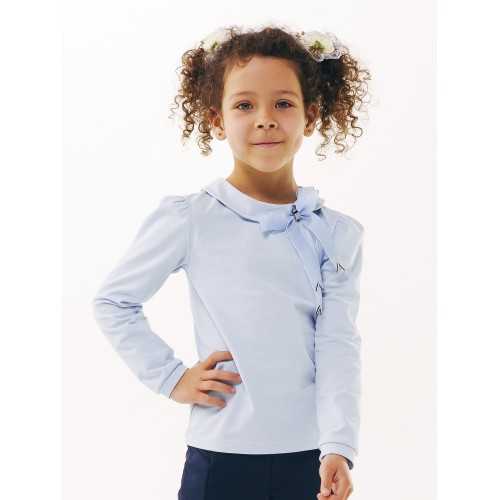 Блуза с бантом голубая Смил 2019