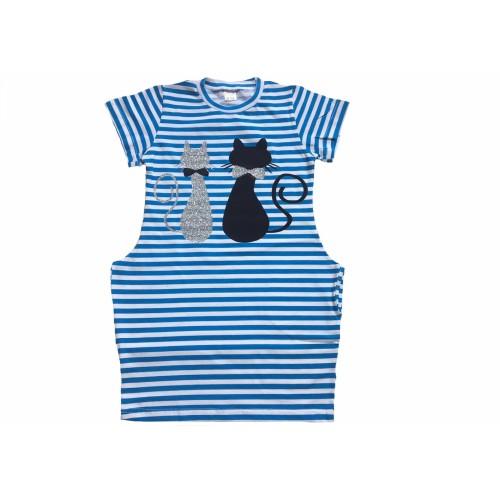 Платье для девочки Кошки синий ТМ Літо