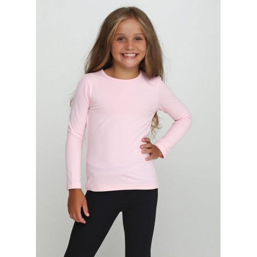 Футболка длинный рукав для девочки Розовая ТМ Vidoli