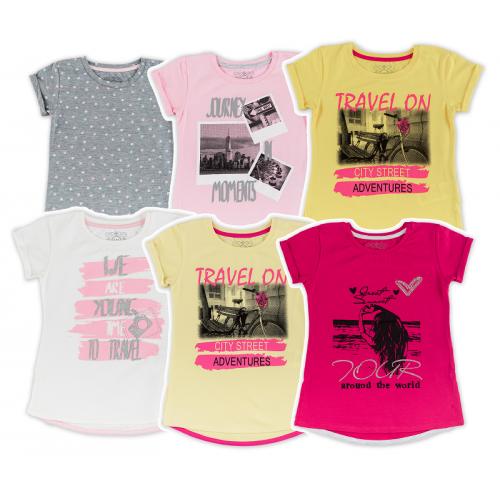 Футболка для девочки мод.765 Фламинго-текстиль