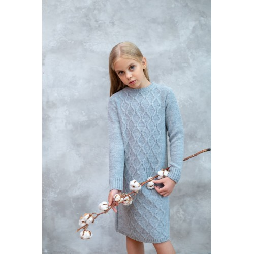 Платье вязаное Арани Серое тм Tophat