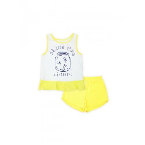 Пижама для девочки летняя 104394 желтая тм Смил