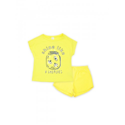 Пижама для девочки летняя 104393 желтая тм Смил