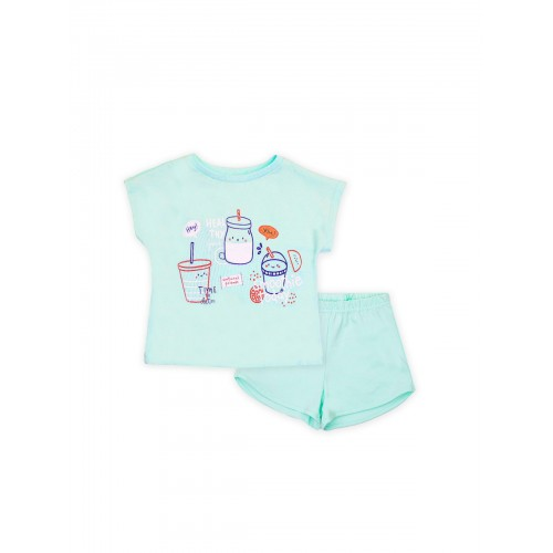 Пижама для девочки летняя 104393 бирюза тм Смил