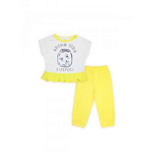 Пижама для девочки летняя 104395 желтый тм Смил