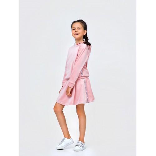 Костюм для девочки с юбкой Розовый (велюр) Смил
